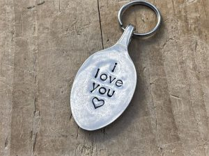 Silver Plate Spoon Keyring, I Love You