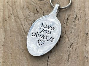 Silver Plate Love You Always keyring