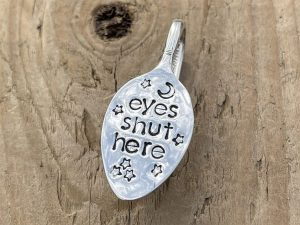 Silver Plated Eyes Shut Here Folded Bookmark