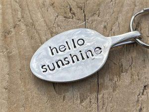 Silver Plated Hello Sunshine Spoon Keyring