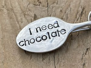 Silver Plate I Need Chocolate Spoon Keyring
