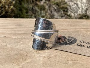 Sterling Silver Birmingham 1924 Hammered Effect Coffee Spoon Ring