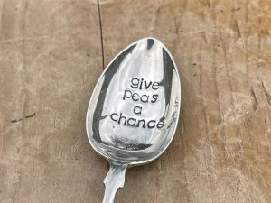 Silver Plate Give Peas A Chance Dessert Spoon