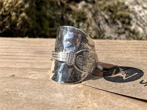Sterling Silver London 1889 Hammered Coffee Spoon Ring