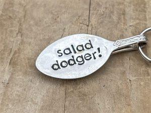 Silver Plate Spoon Keyring, Salad Dodger