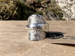 American Sterling Silver Floral Coffee Spoon Ring