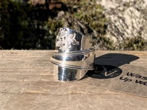 Sterling Silver Sheffield 1944 Floral Coffee Spoon Ring