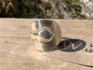 Sterling Silver London 1930 Gold Gilt Demitasse Spoon Ring