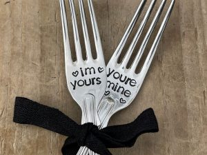 Silver Plate I'm Yours You're Mine Fork Set