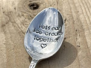 Silver Plate Lets Eat Ice Cream Together Dessert Spoon