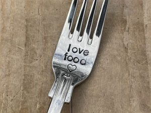 Silver Plate Love Food Fork
