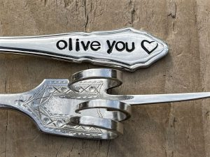 Silver Plate Olive You Pickle Fork