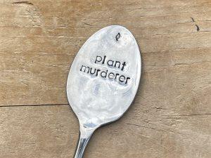 Silver Plate Plant Murderer Herb & Veg Marker