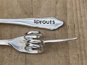 Silver Plate Sprouts Pickle Fork