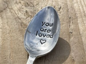 Silver Plate You Are Loved Dessert Spoon