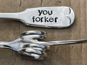Silver Plate You Forker Pickle Fork