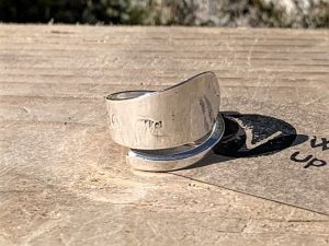 Sterling Silver Exeter 1799 Coffee Spoon Handle Twist Ring