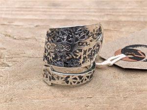 Sterling Silver London 1872 Fiddle Pattern Teaspoon Handle Twist Ring