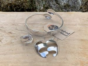 Sterling Silver Sheffield 1912 Sugartong Bangle Twist Ring And Earring Set