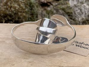 Sterling Silver Sheffield 1927 Sugartong Bangle And Coffee Spoon Ring Set