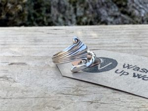 Sterling Silver London 1901 Albany Coffee Spoon Handle Twist Ring