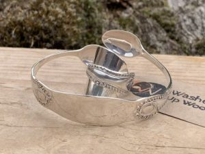 Sterling Silver London 1906 Sugartong Bangle And Coffee Spoon Ring Set