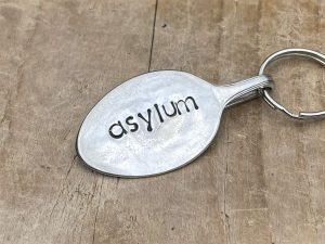 Silver Plate Asylum Keyring