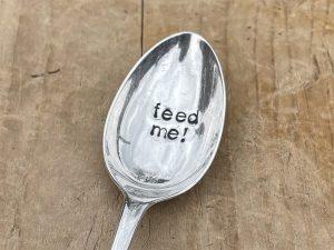 Silver Plate Feed Me Dessert Spoon