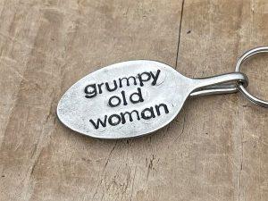 Silver Plate Grumpy Old Woman Keyring