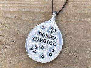 Silver Plate Happy Divorce Bottleneck Hanger