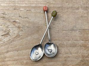Silver Plate Heart Coffee Spoon Set