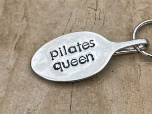 Silver Plate Pilates Queen Keyring