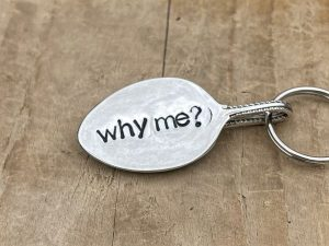 Silver Plate Why Me? Keyring