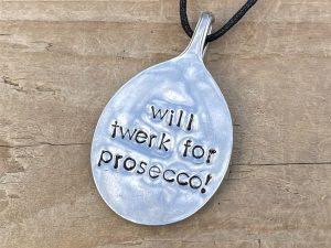 Silver Plate Will Twerk For Prosecco Bottleneck Hanger